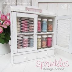 Hometalk | From Grotty Old Spice Rack to Shabby Sprinkles Cabinet!