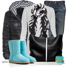 Puffer Jacket & colorful Uggs
