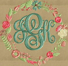 Floral Font Frame Monogram Embroidery Design Font by StitchElf Embroidery Monogram, Learn Embroidery, Embroidery Fonts, Machine Embroidery Designs, Embroidery Patterns, Embroidery Tattoo, Embroidery Thread, Monogram Frame, Monogram Design