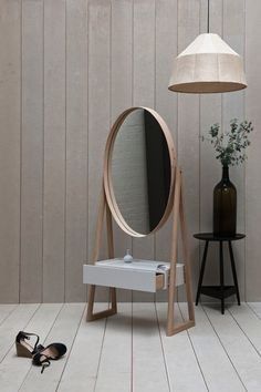 wooden mirror with drawer