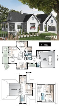 Discover the plan 3931 - The Thatchery from the Drummond House Plans house collection. 3 bedroom cottage plan, baths, fantastic guest suite above garage, . Total living area of 2219 sqft. Sims House Plans, Cabin House Plans, House Layout Plans, Dream House Plans, Small House Plans, House Layouts, House Floor Plans, Cottage House Plans, Cottage Farmhouse
