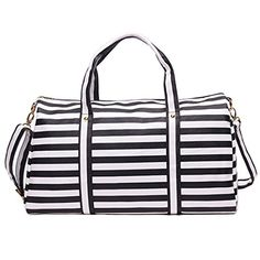 Travel Bags PU Leather Stripe Waterproof Weekendtas 2016 Fashion Luggage Packing Cubes Bag Weekender Traveling Bag OFF Bag Women, Travel Bags For Women, Nylons, Duffle Bag Travel, Duffel Bag, Weekender Tote, Crossbody Bag, Striped Tote Bags, Elegante Designs
