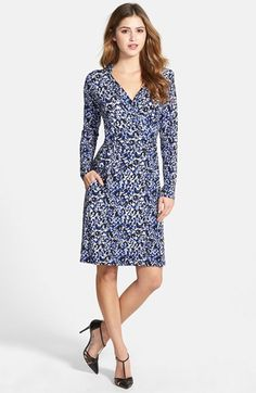 LOVEAPPELLA Seamed Wrap Dress - Blue Animal Print #commandress