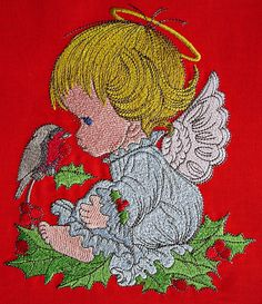 Gift bag with Cute little angel embroidery design Author: home decor #GiftBag #Christmas #cute #little #angel #embroidery #embroideres #stitches #wings #bird #song design https://embroideres.com/christmas-angel-3-embroidery-design-26994
