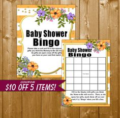 Floral Baby Shower Bingo Peach and Gold Baby by ShowerPrintables