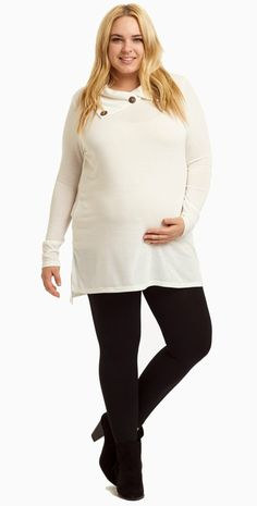 We love this button collar knit maternity plus tunic. This trendy maternity tunic is the perfect stylish piece for the fall season, good thing this top comes in multiple gorgeous hues. Pair this knit tunic with a dark wash maternity jean and boots for a fabulous, flawless look.