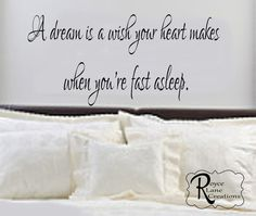Bedroom Decal Bedroom Art A Dream is a Wish by RoyceLaneCreations, $15.00