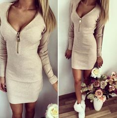 """Dresses Length:Above Knee Neckline:V-neck Sleeve Length:long sleeve Pattern:pure color Material:cotton Color:apricot Size: XS (US size) Bust: 31-33"""", Waist: 23-25"""", Hips: 33-35"""" S (US size) Bust: 33-3"""