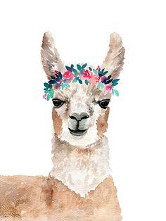 Watercolor llama and floral art print Watercolor Animals, Watercolor Print, Watercolor Paintings, Face Paintings, Watercolours, Body Painting, Llama Arts, Llama Print, Nursery Art