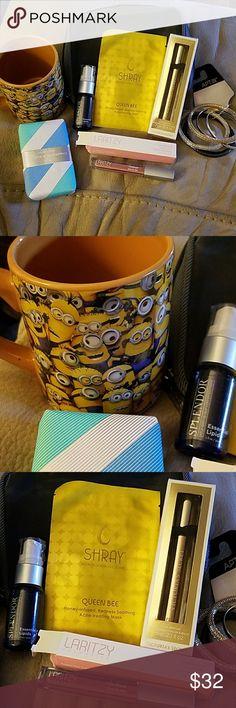 "Cosmetic bundle ++ An eclectic mix....unused NWT Minion coffee/tea mug, NWOT lip stain, Champagne and Blue Iris Soap bar, Victorias Secret roller perfume ""Heaven"", Apt 9 mesh set of 6 bracelets, and grey bag as well as Splendor Essential Lipids Victoria's Secret Makeup"