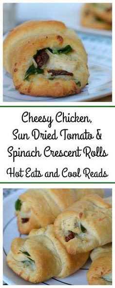Great served as an appetizer, lunch or side! So delicious and flavorful! Cheesy Chicken, Sun Dried Tomato and Spinach Crescent Rolls Recipe from Hot Eats and Cool Reads #sponsored #warmtraditions