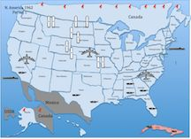 This Is The Map Of North America For The Cold War Simulation The Rockets Represent
