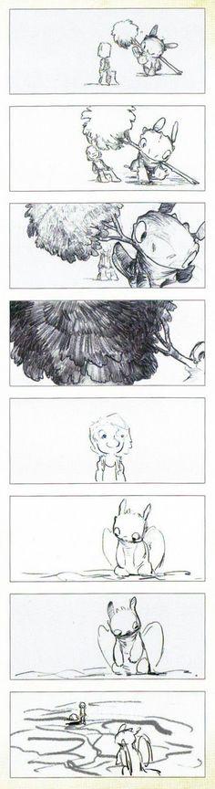 Chris Sanders How You Train Your Dragon Storyboard  http://cartoonconceptdesign.blogspot.com.au/2013/05/chris-sanders-how-to-train-your-dragon.html