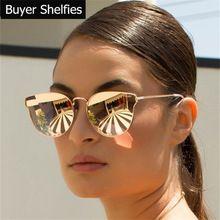 5233f4826 Luxo de design da marca cat eye sunglasses mulheres marca designer espelho  óculos de sol do