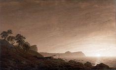 Caspar David Friedrich, Vista di Arkona con la luna che sorge - Blick auf Arkona mit aufgehendem Mond, s.d. [1803]. Matita e inchiostro seppia, 60.9 × 100, Vienna, Albertina Meseum.
