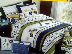 Boy-Zone-Twin-Construction-Quilt-Bedding-6pc-Set-COTTON-w-Sheets-Trucks-
