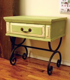 painted distressed side table..make out of an old dresser drawer?