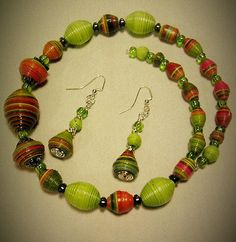 BURST of Lime paperbead necklace and earring set by tasonya2, via Flickr