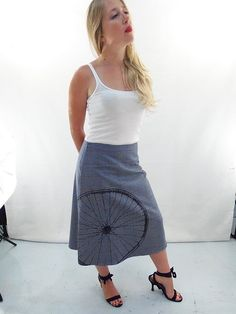 Houndstooth Twill A-Line Bicycle Wheel Skirt