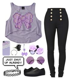 """""""🎀"""" by cherry-demon ❤ liked on Polyvore featuring Balmain, Miss Selfridge, Vans, Kiss the Sky and Topshop"""