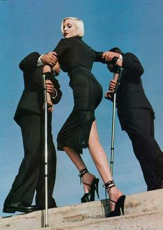 Nadja Auermann photographed Helmut Newton for Vogue US ('High and Mighty', February 1995). Styling: Camilla Nickerson.