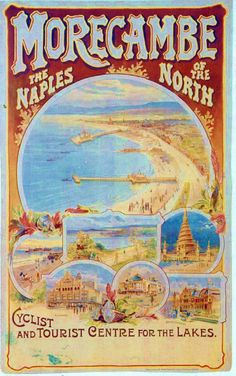 "gardens heysham Love this poster advertising tourism for Morecambe - ""The Naples of the North"". Love this poster advertising tourism for Morecambe - ""The Naples of the North"". via historic-images. British Travel, British Seaside, Posters Uk, Railway Posters, Vintage Travel Posters, Vintage World Maps, Naples, Morecambe, Hotel Secrets"