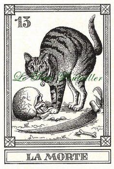 Vintage 1990 Menegazzi Engraved Cat Tarot Fortune Telling Feline cards, Il Gatti, 4 Cards 9 11 13 14