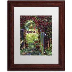 Trademark Fine Art Wicket Garden Gate Canvas Art by David Lloyd Glover, White Matte, Wood Frame, Size: 16 x 20, Brown