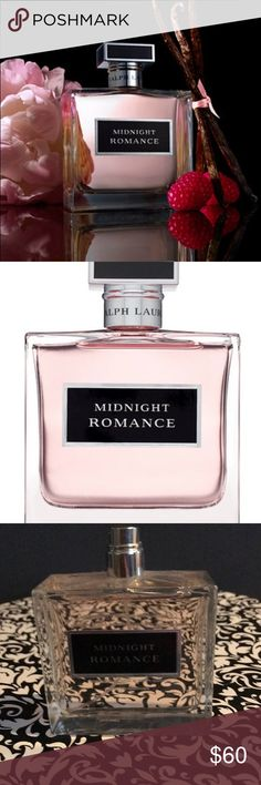 Ralph Lauren Midnight Romance Passion burns brightest in the dark.  Indulge in the fragrance of Ralph Lauren Midnight Romance, and experience the essence of sensual pink peony and mysterious black vanilla. Top Notes: raspberry, Italian bergamot, litchi Heart Notes: peony, sambac jasmine, freesia  Base Notes: black vanilla, amber, iris absolute  New unused, no box, no lid Ralph Lauren Other