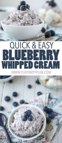 This homemade blueberry whipped cream is the best topping for a cobbler, pie, or your other favorite desserts. It's easy and you can even pretend it's healthy because it uses fresh blueberries! If you know how to make regular whipped cream, this recipe will be a breeze. Definitely one of my new favorite recipes!
