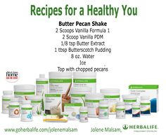 Move over Pecan Pie - Get a slice of Herbalife Butter Pecan Shake!  For Herbalife nutritonal meal, targeted nutritional supplements, fitness and energy, and skin and hair products, contact www.goherbalife.com/jolenemalsam