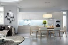luminoso arredamento per soggiorni moderni con divani grigi, zona ...