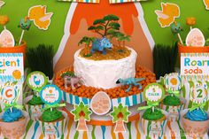 What a great Dinosaur Birthday Party!  See more party ideas at CatchMyParty.com! Dinosaur Train Party, Dinosaur Birthday Party, 6th Birthday Parties, Dinosaur Cake, Birthday Ideas, Party Time, Party Party, Party Rock, Party Cakes