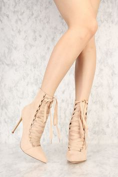 Nude Strappy Lace Up Pointy Toe Single Sole Booties Faux Suede Lace Up Heels, 5 Inch Heels, Gisele, Toe, Booty, Outfits, Fashion, Outfit, Swag