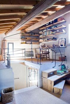 LA LOUVE, PROVENCE, FRANCE - DESIGNER GARRETT FINNEY - RENOVATED WROUGHT IRON RAILINGS, WOODEN DESK AND SHELVES