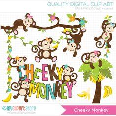 Cheeky Monkey / Girl Monkey Clip Art / Digital Clipart - Instant Download