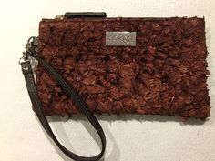 Ella Purse in brown leather featuring chestnut ruffled barramundi leather Australian Icons, Textile Artists, Red Roses, Leather Handbags, Brown Leather, Purses, Handbags, Leather Totes, Purse