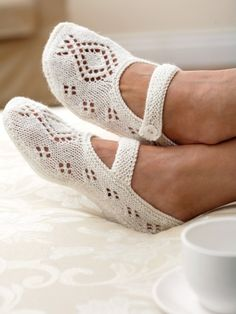 Lace Slipper | Yarn | Free Knitting Patterns | Crochet Patterns | Yarnspirations