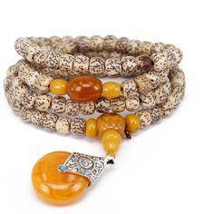 GUOXTIANG Brand 108 7*9mm Women's Natural Bloodshot Bodhi Seed Wood Bracelet Necklace Tibetan Buddhist Beads Paryer Mala Adjustable Elatic Beeswax Pendant * For more information, visit image link.