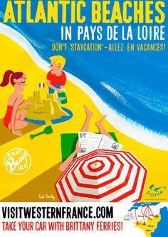 Atlanctic Beaches in Pays de la Loire, Don't 'Staycation' - Allez en vacances ! Visit western France, illustration by Paul Thurlby, 2013.