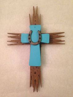 Handmade Upcycled clothespin stacked cross with western accent.  By Upcycled_Diva