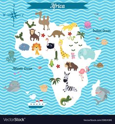 Map of Africa continent with animals Royalty Free Vector Africa Continent, Geography For Kids, Country Maps, Animal Habitats, Preschool Education, Cultural Experience, Africa Travel, Toddler Activities, How To Introduce Yourself