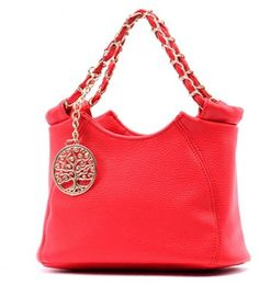 Women's Shoulder Bag with Metallic Pendant Available in Black, White, Red-Pink and Green Colors Handbag Type Shoulder bag Style Fashion Gender For Women Pattern Type Solid Closure Type Zipper Interior