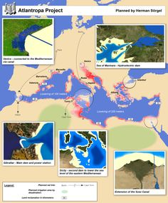 """Atlantropa While Adolf Hitler dreamed of conquering vast new """"living space"""" for the German people in eastern Europe (see Generalplan Ost above), architect Herman Sörgel had a vision of opening up new space in the Mediterannean basin. Valencia, Tennessee, Lake Chad, Istanbul, Barcelona, Alternate History, Life Plan, Sea Level, 1920s"""
