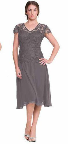 336eb5ffc60 Cheap Lace Mother Of The Bride Dresses Purple Gray Chiffon Sexy Sheer Short  Sleeves V Neck Tea Length Women Formal Evening Gowns 2015 Plus Size As Low  As ...