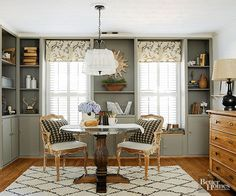 When your patterns are neutral, you can layer many of them for intrigue without sacrificing sophistication. Here, painted gray cabinetry creates a certain elegance, while antiqued chairs and three varied gray patterns, spread from floor to ceiling and keep things from getting too serious.