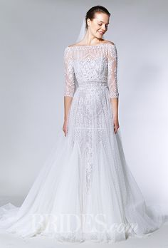 Bridal Gowns with Beautiful, Illusion Necklines. #weddings #dresses #illusion #necklines