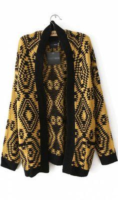 Retro geometric pattern long sleeved cardigan yellow