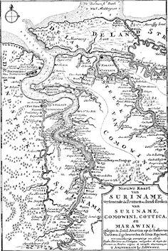 Kaart van Suriname uit 1700. Dubbelklik voor site met historische info.