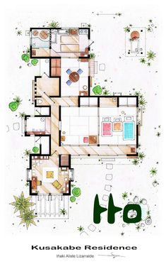 handa: スケッチが細かい!となりのトトロや有名TVドラマなどに登場する家の間取り図 – TV FLOOR PLANS and MORE - | STYLE4 Design すごく住みやすそうな間取り。2階への隠し階段もちゃんとある。ただトイレの上の部屋の用途が謎。バックヤードであることは確かだけど。